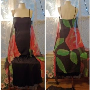 Vintage 60s-70s Joy Stevens maxi dress with veil